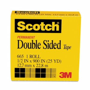 "Double-Sided Tape, 1/2"" x 900"", 1"" Core, Clear"