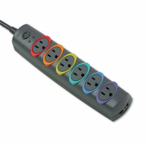 SmartSockets Color-Coded Strip Surge Protector, 6 Outlets, 8ft Cord, 1260 Joules