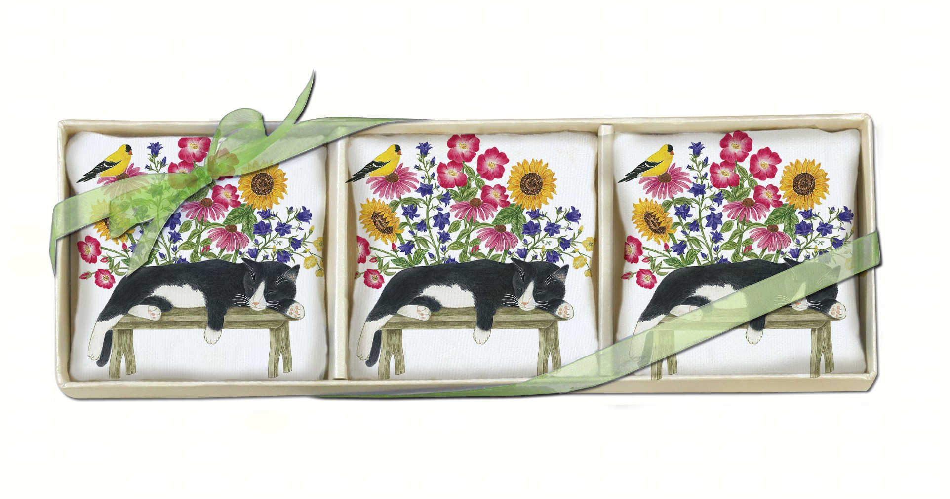 Cat on Bench Gift Boxed Lavender Sachets (3 pcs)