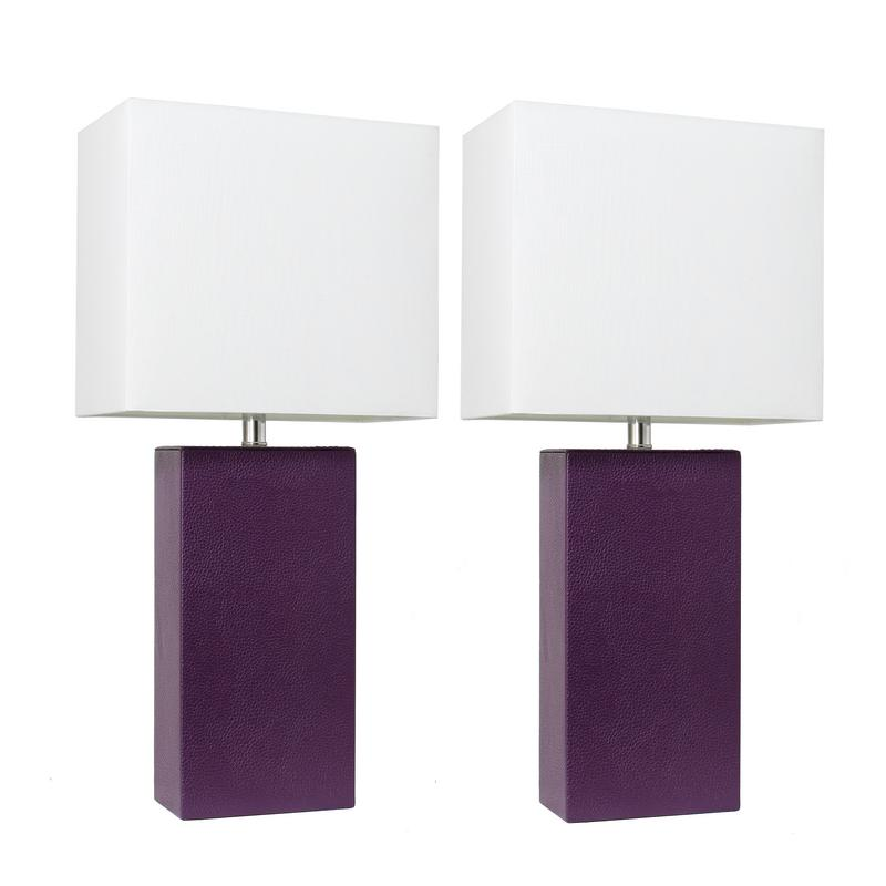 Elegant Designs 2 Pack Modern Leather Table Lamps with White Fabric Shades, Eggplant