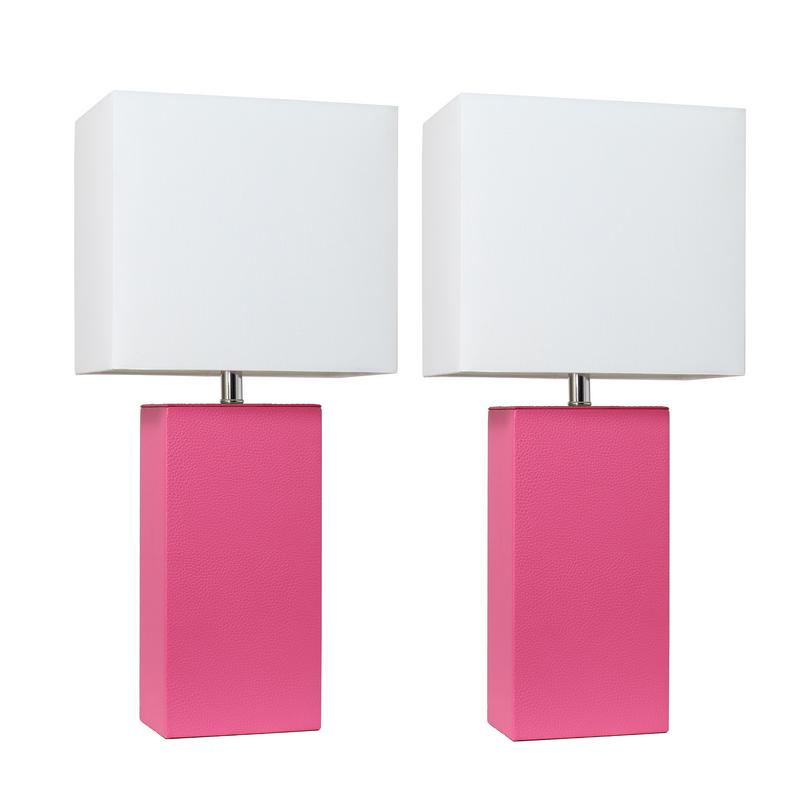 Elegant Designs 2 Pack Modern Leather Table Lamps with White Fabric Shades, Hot Pink