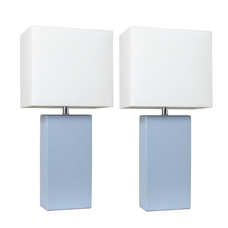Elegant Designs 2 Pack Modern Leather Table Lamps with White Fabric Shades, Periwinkle