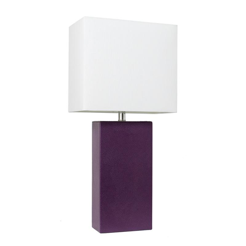 Elegant Designs Modern Leather Table Lamp with White Fabric Shade, Eggplant