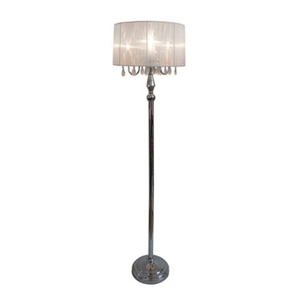 Elegant Designs Trendy Sheer White Shade Floor Lamp with Hanging Crystals