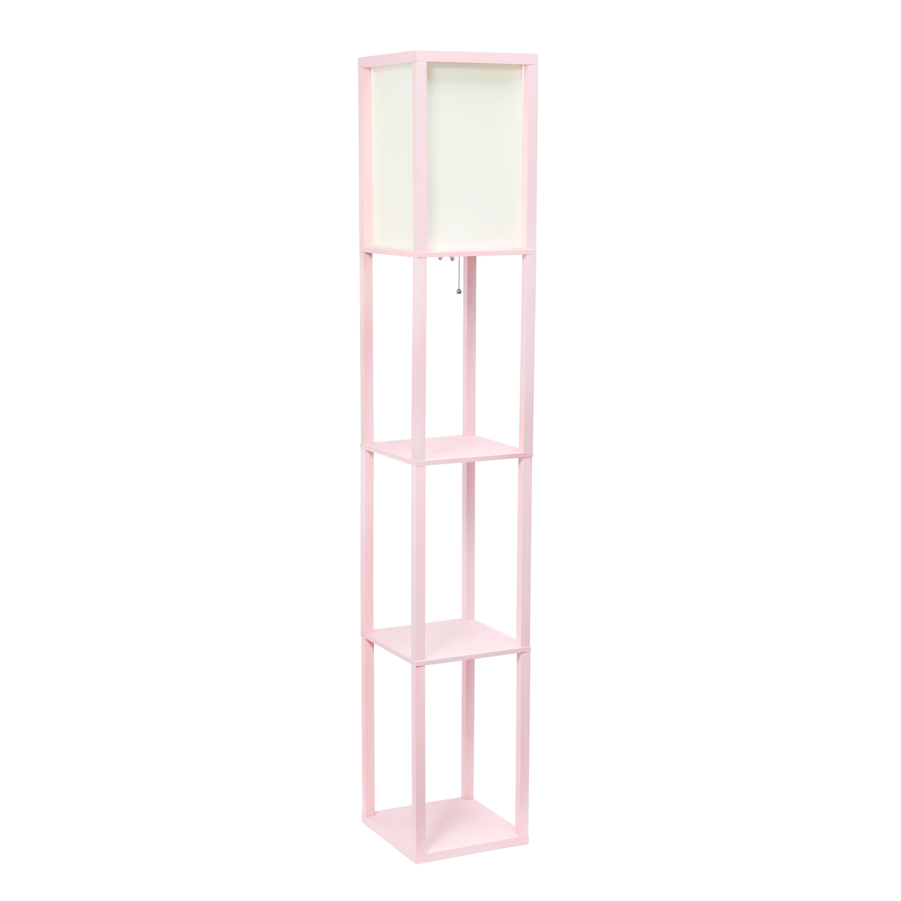 Simple Designs Floor Lamp Etagere Organizer Storage Shelf with Linen Shade, Light Pink