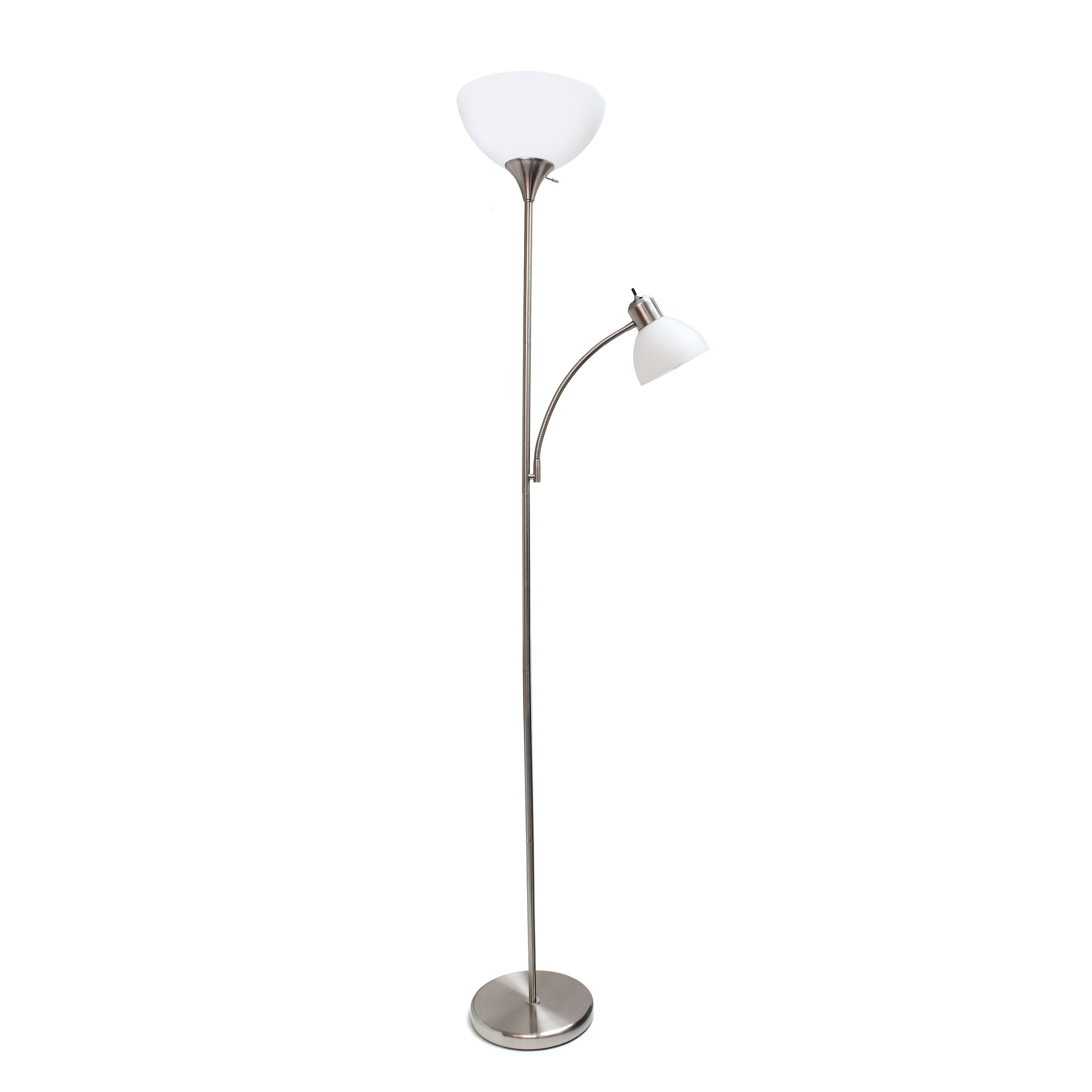 Simple Designs Floor Lamp with Reading Light, Brushed Nickel
