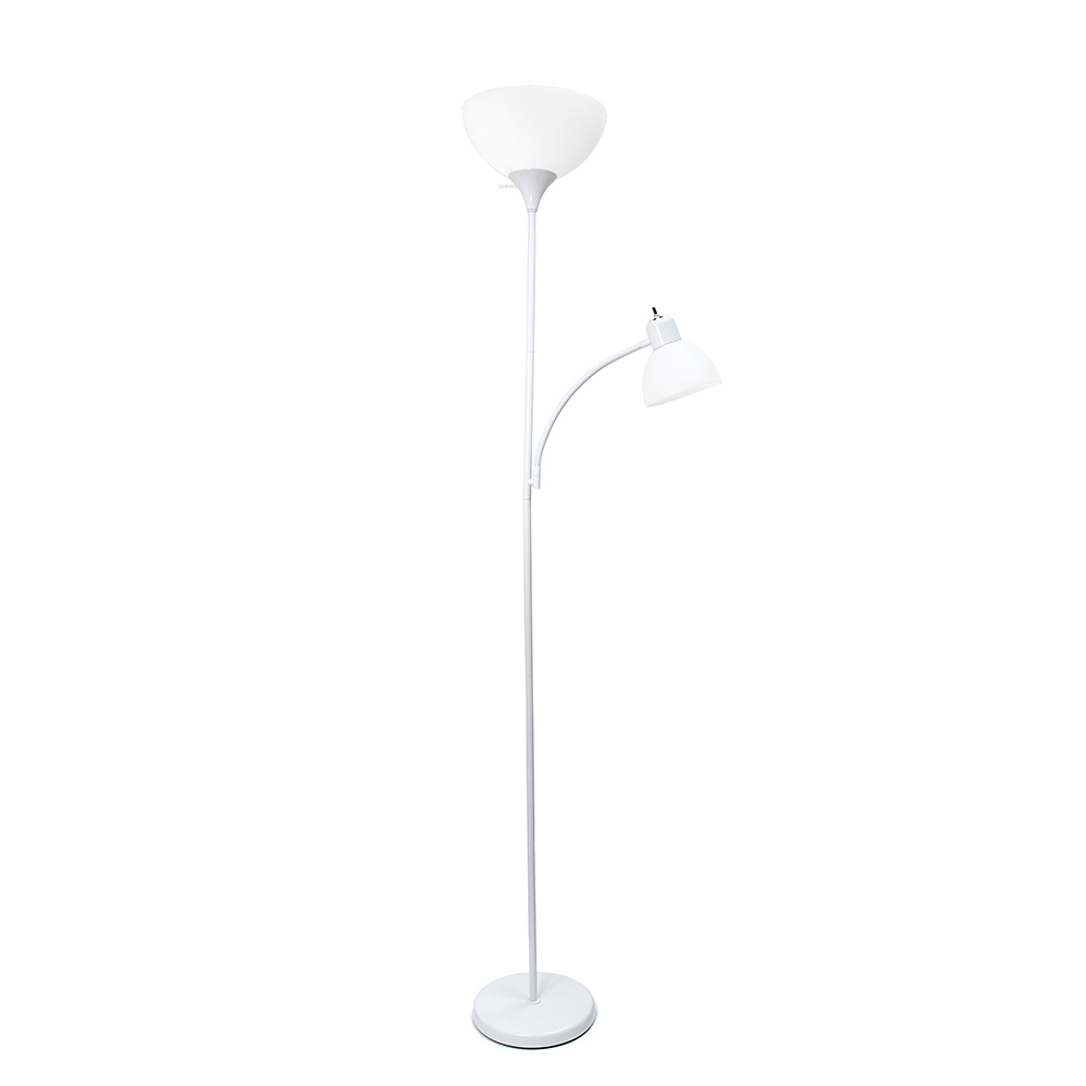 Simple Designs  Floor Lamp with Reading Light, White
