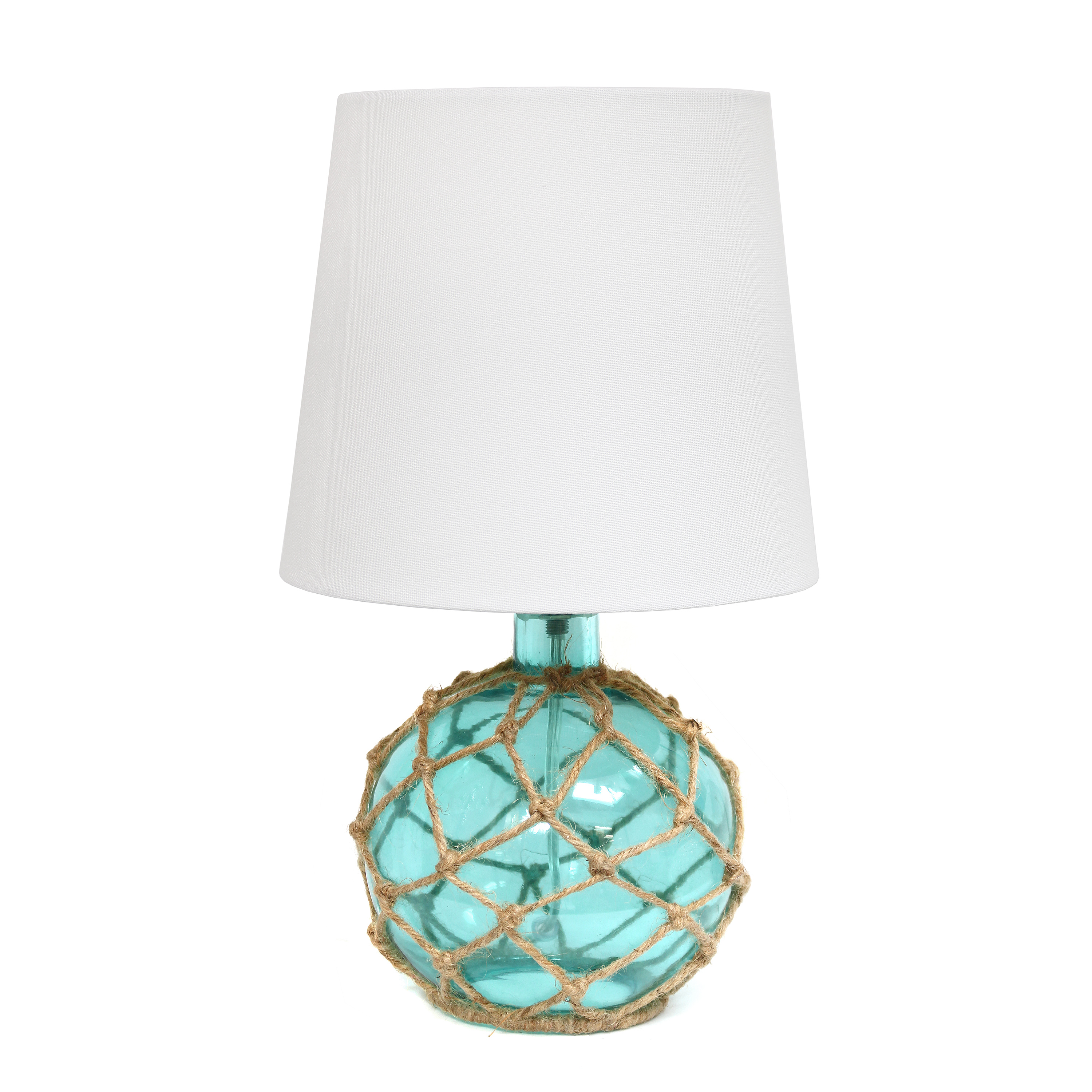 Elegant Designs Buoy Rope Nautical Netted Coastal Ocean Sea Glass Table Lamp with White Fabric Shade, Aqua