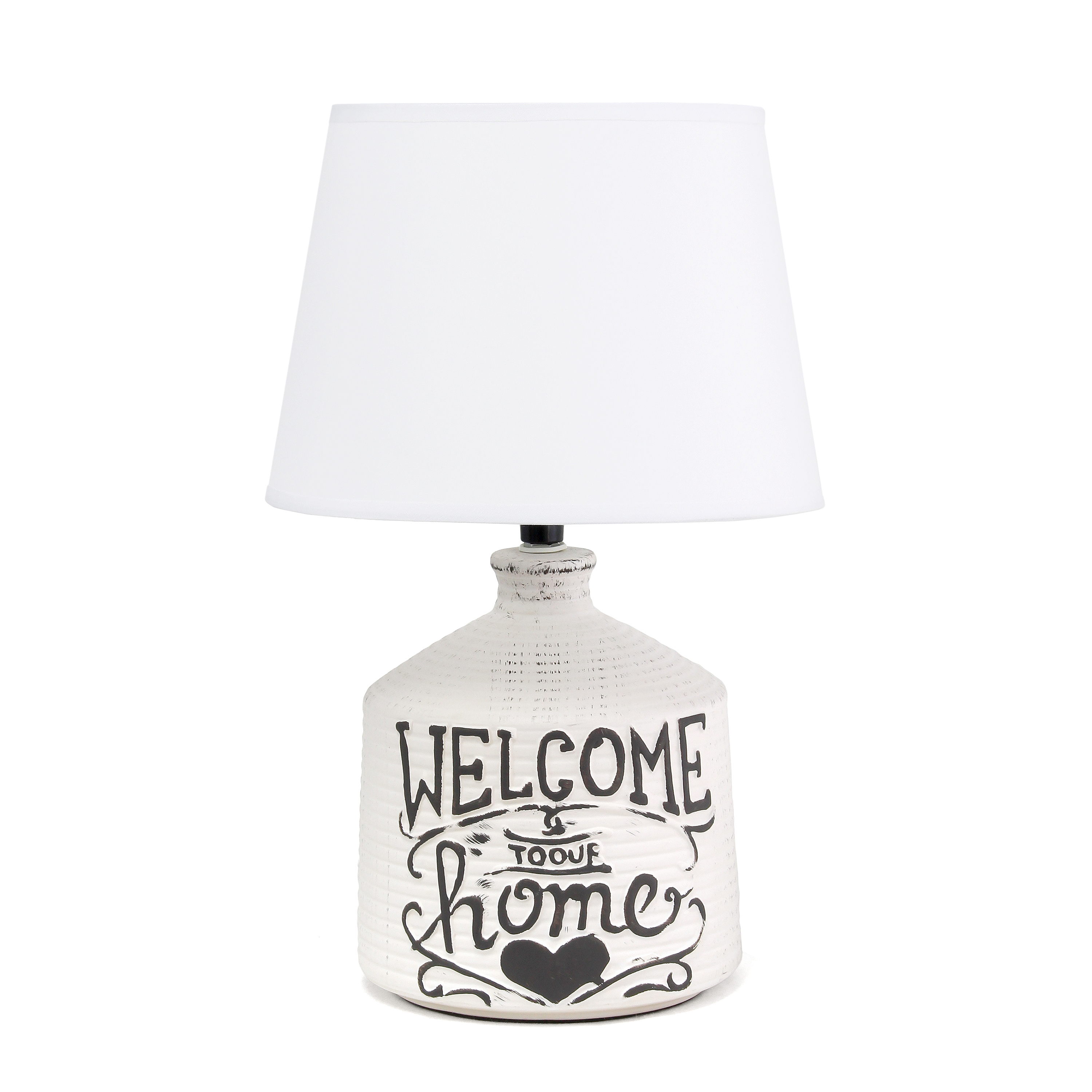Simple Designs Welcome Home Rustic Ceramic Farmhouse Foyer Entryway Accent Table Lamp with Fabric Shade