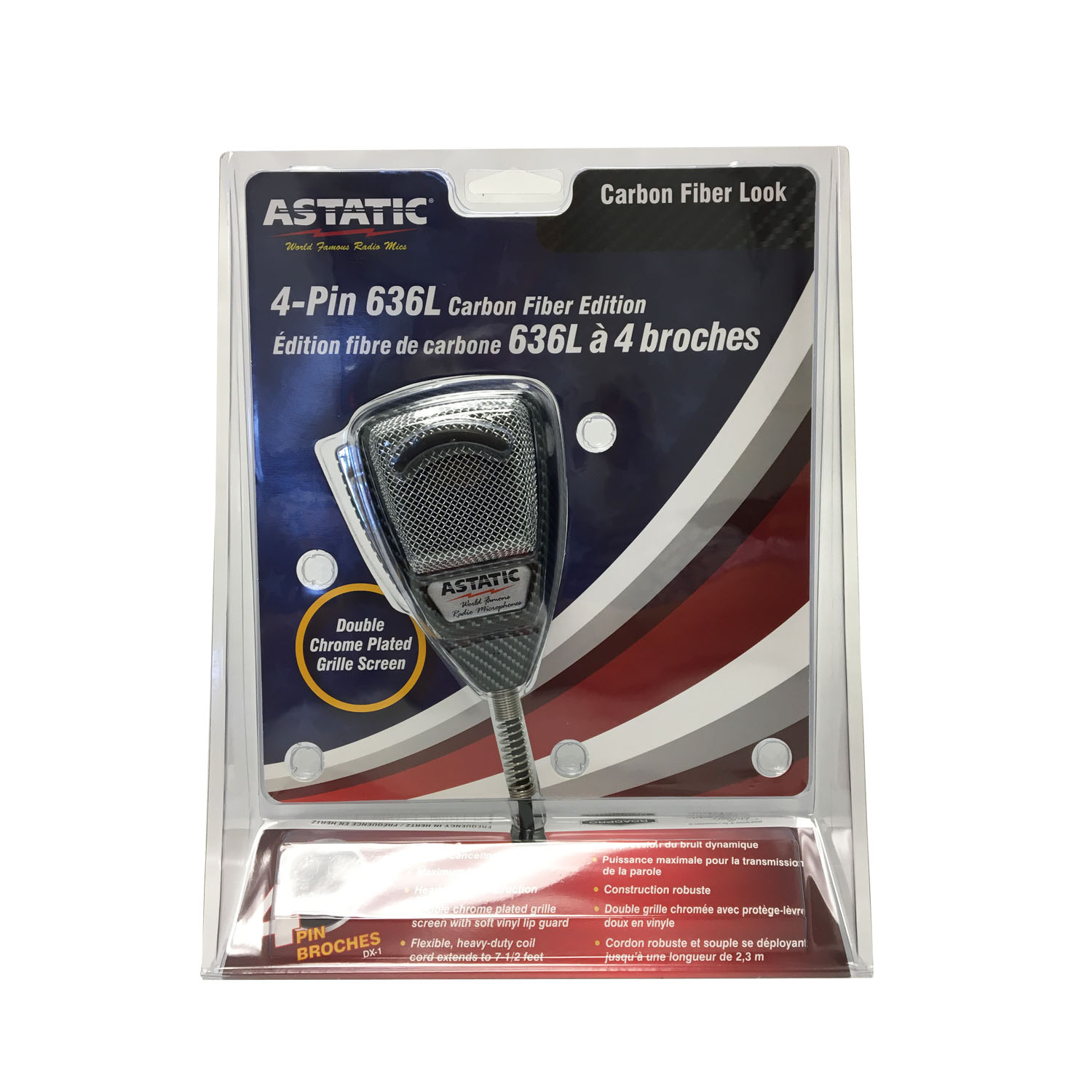 ASTATIC - 636L-CF HEAVY DUTY 4 PIN NOISE CANCELING CB MICROPHONE WITH CARBON FIBER FINISH