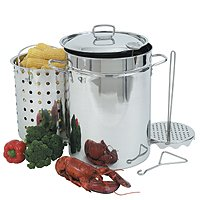 Barbour Bayou Classic Turkey Fryer Pot, 32 qt Capacity, 12 in Dia 17-1/2 in H, Stainless Steel