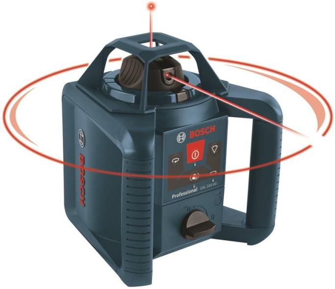 Bosch GRL245HVCK Self-Leveling Rotary Laser Kit, 1/8 in at 100 ft, 800 ft, Battery, Plastic