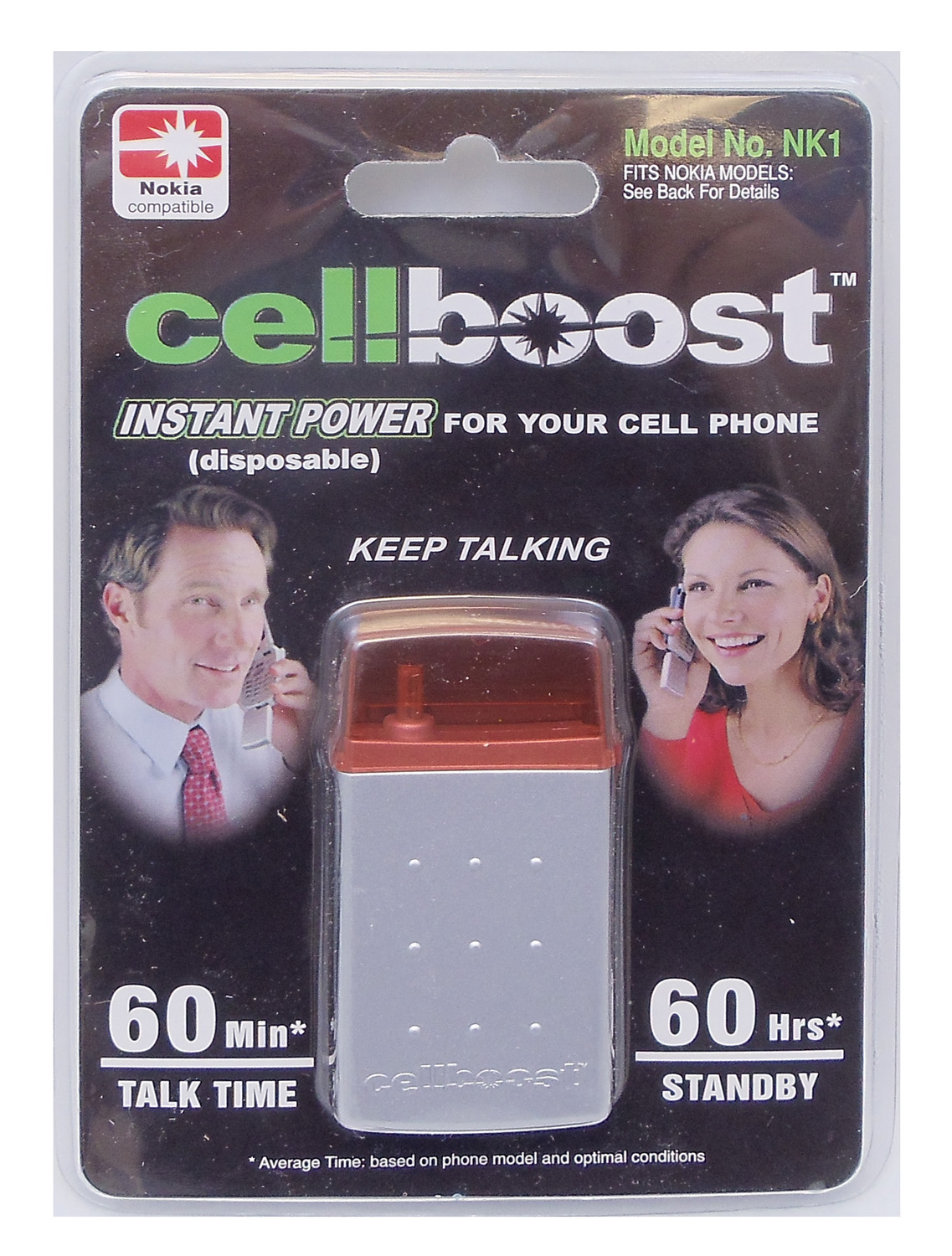 CELLBOOST - PROVIDES INSTANT POWER UP TO 60 MINUTES TALK TIME & 60 HOURS STANDBY FOR MOST NOKIA PHONES