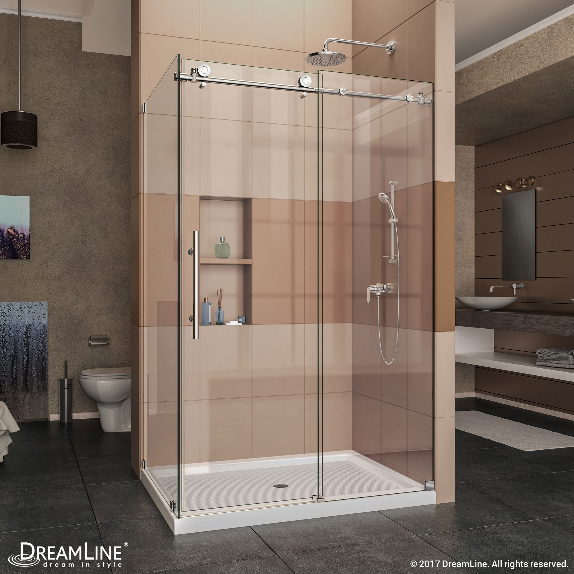 "Enigma-X 34-1/2"" x 48-3/8"" Fully Frameless Sliding Shower Enclosure, Clear 3/8"" Glass, Brushed Stainless Steel"