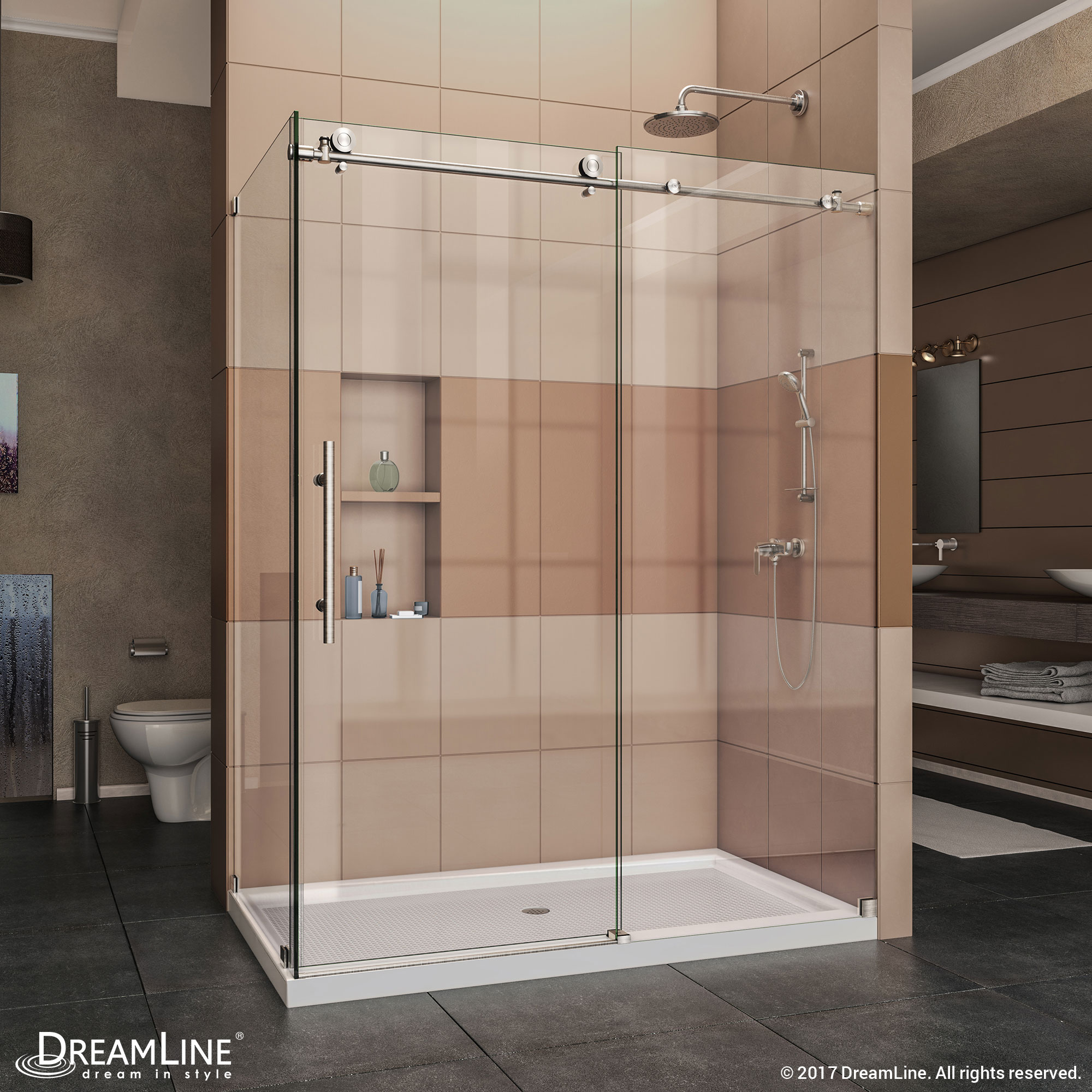 "Enigma-X 34-1/2"" x 48-3/8"" Fully Frameless Sliding Shower Enclosure, Clear 3/8"" Glass, Polished Stainless Steel"