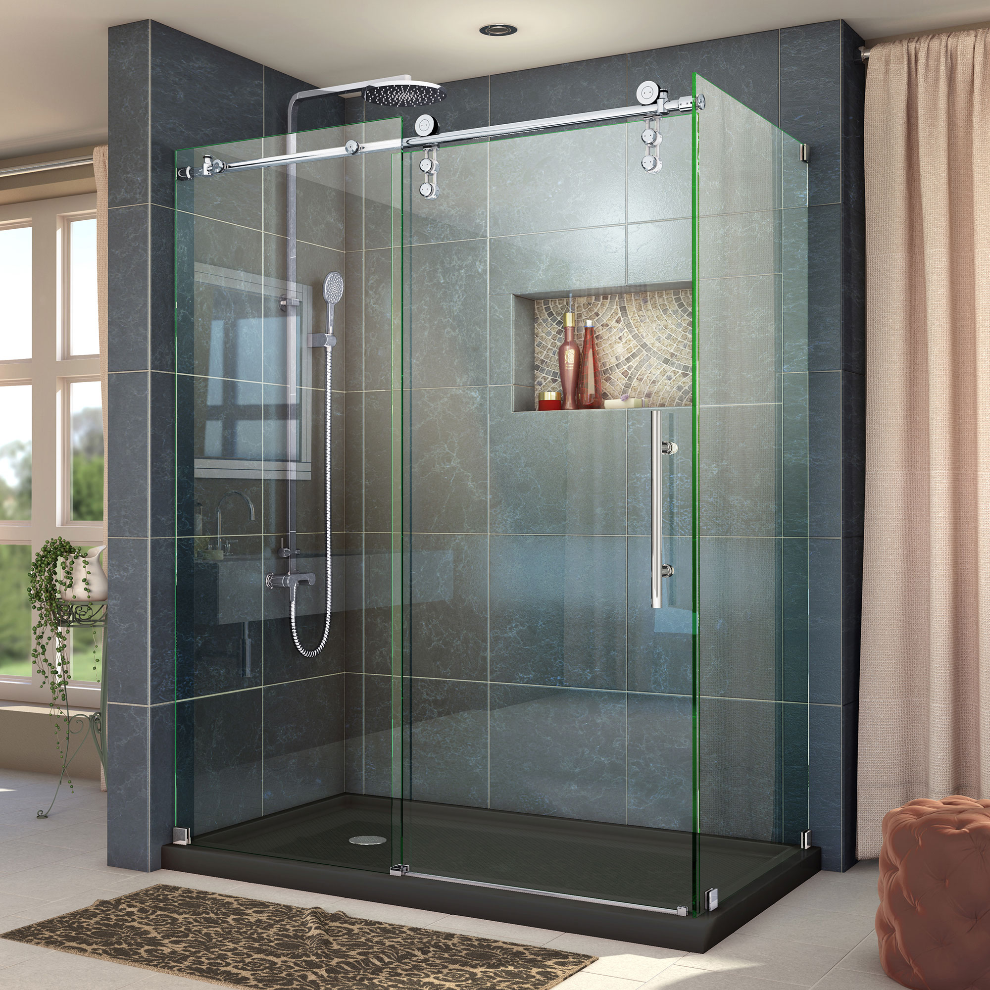 "Enigma-Z 34-1/2"" x 60-3/8"" Fully Frameless Sliding Shower Enclosure, Clear 3/8"" Glass, Brushed Stainless Steel"
