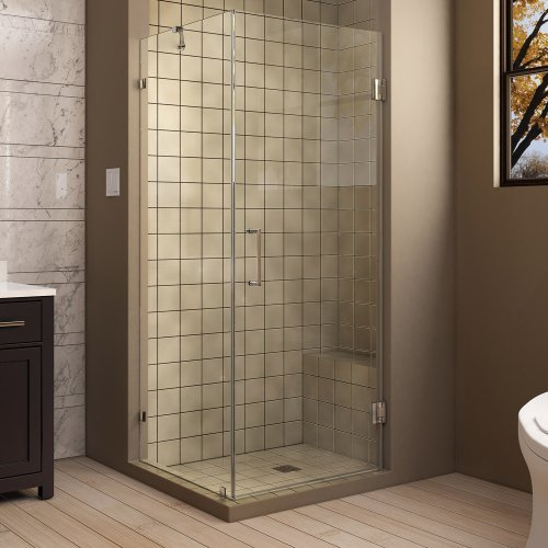 "UnidoorLux 30"" x 30"" Frameless Hinged Shower Enclosure, Clear 3/8"" Glass Shower, Chrome"