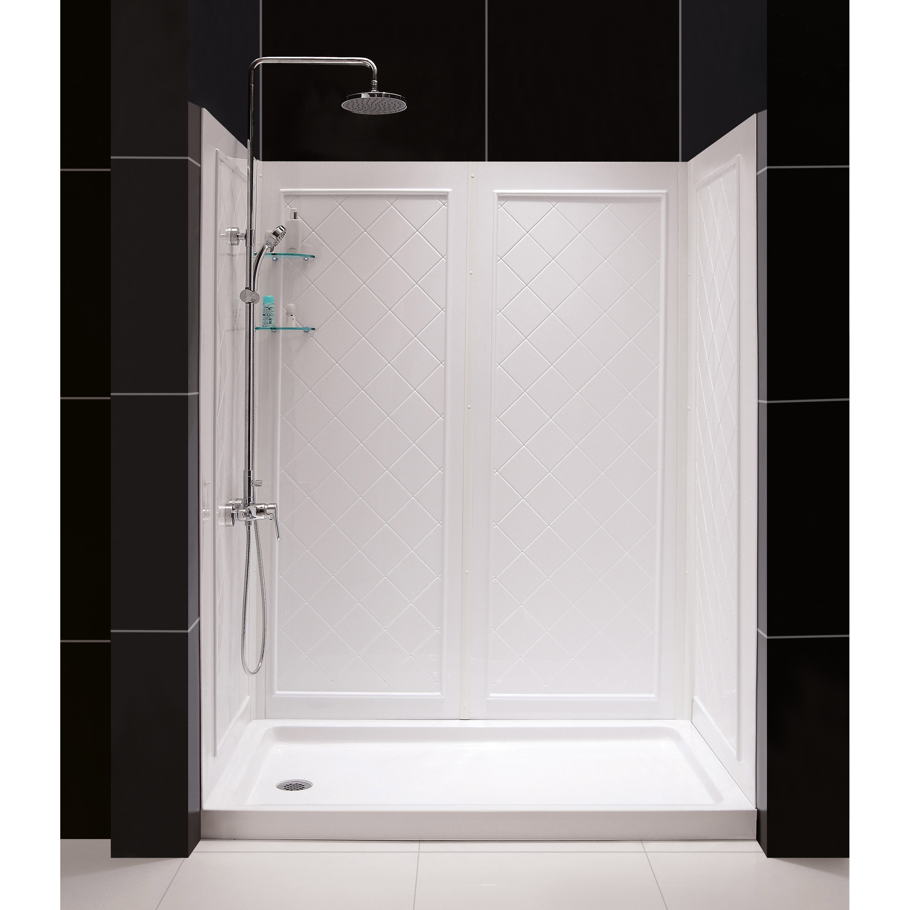 "SlimLine 32"" by 60"" Single Threshold Shower Base and QWALL-5 Shower Backwall Kit"