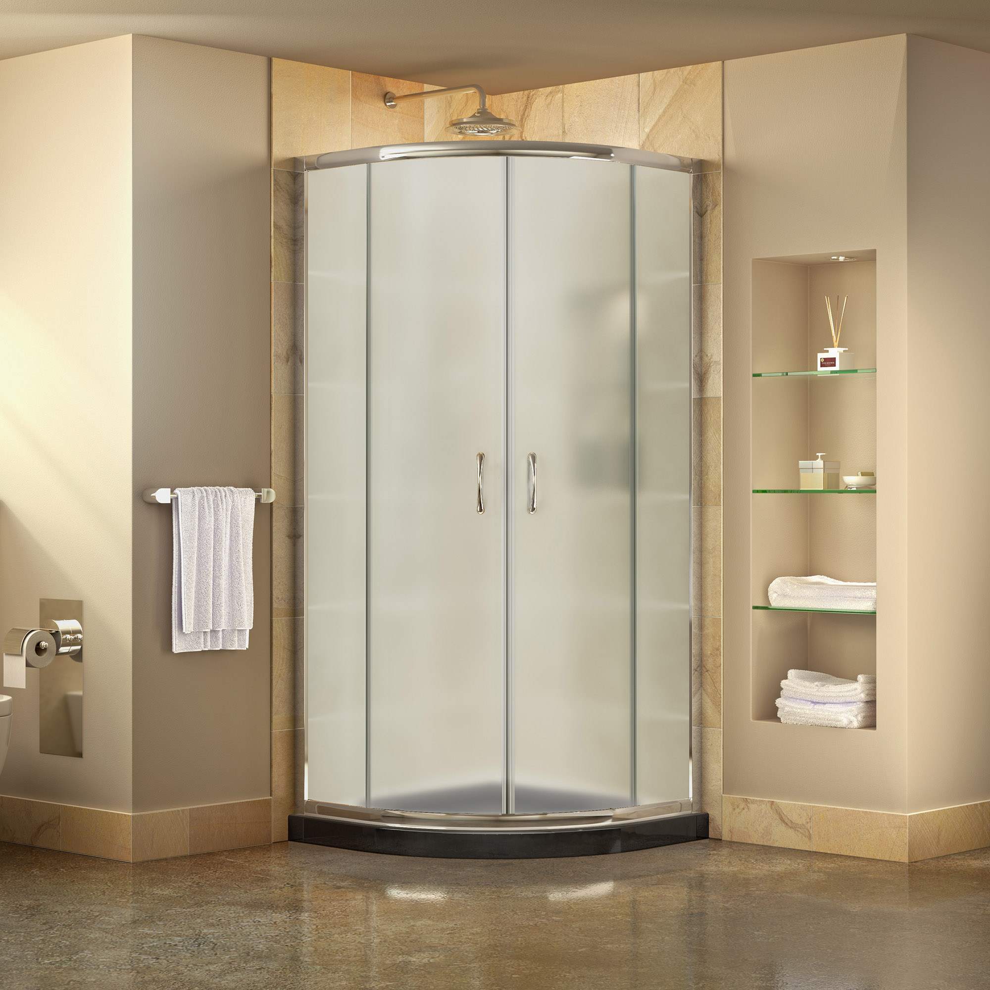 "Prime 34 3/8"" by 34 3/8"" Frameless Sliding Shower Enclosure, Base & QWALL-4 Shower Backwall Kit"