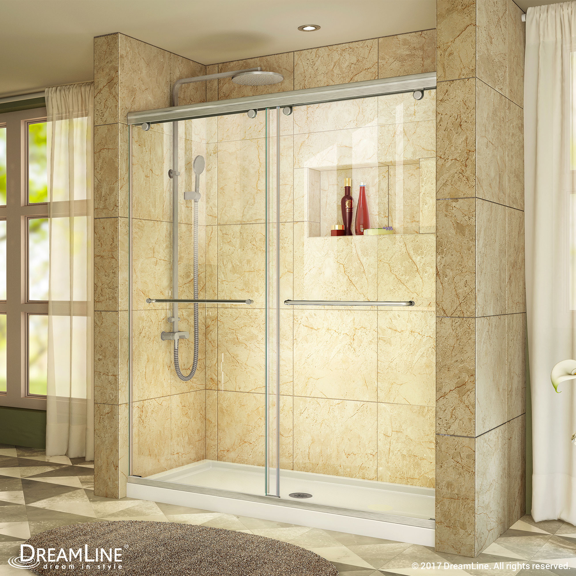 "Charisma Frameless Bypass Sliding Shower Door & SlimLine 36"" by 60"" Shower Base"