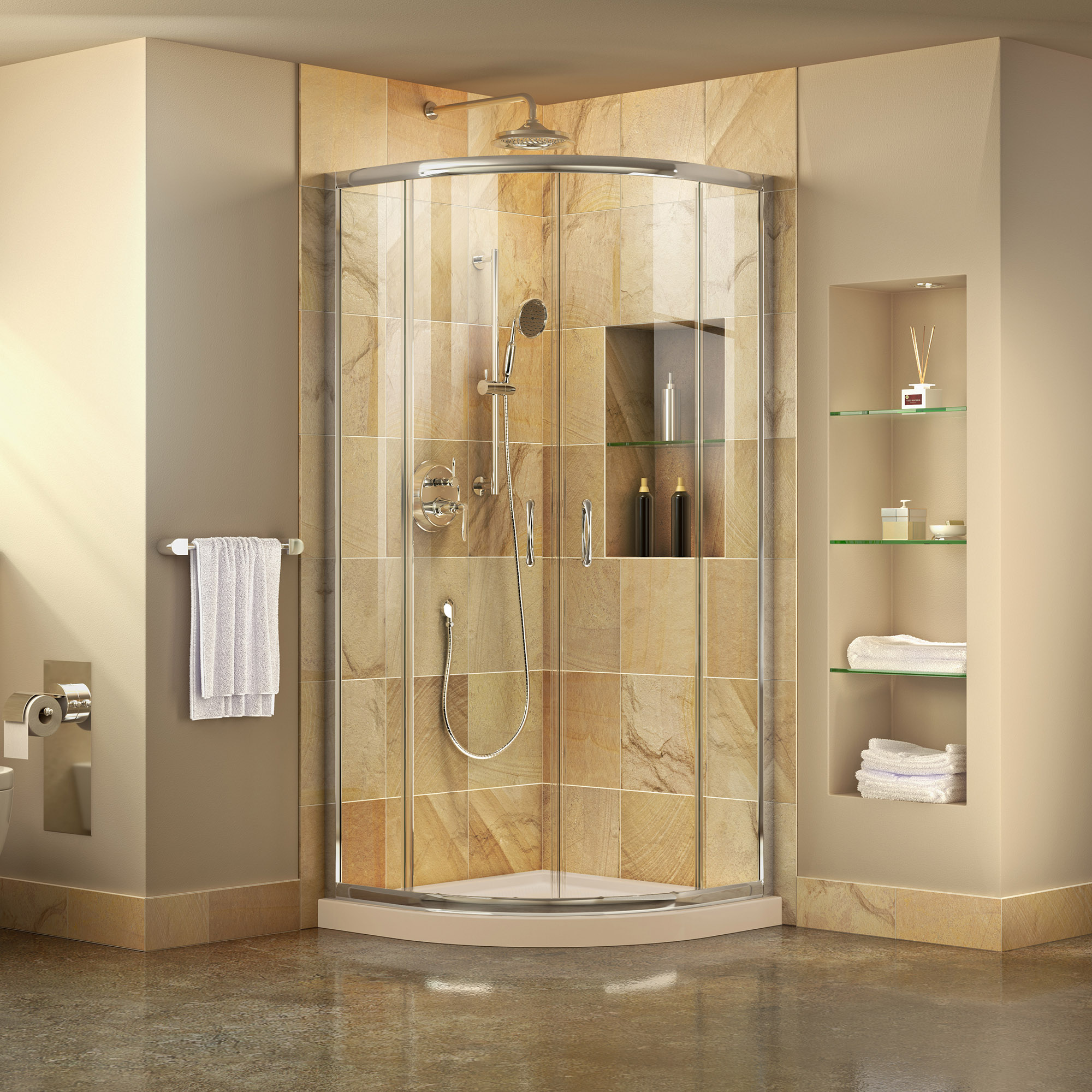"Prime Frameless Sliding Shower Enclosure & SlimLine 33"" by 33"" Quarter Round Shower Base"