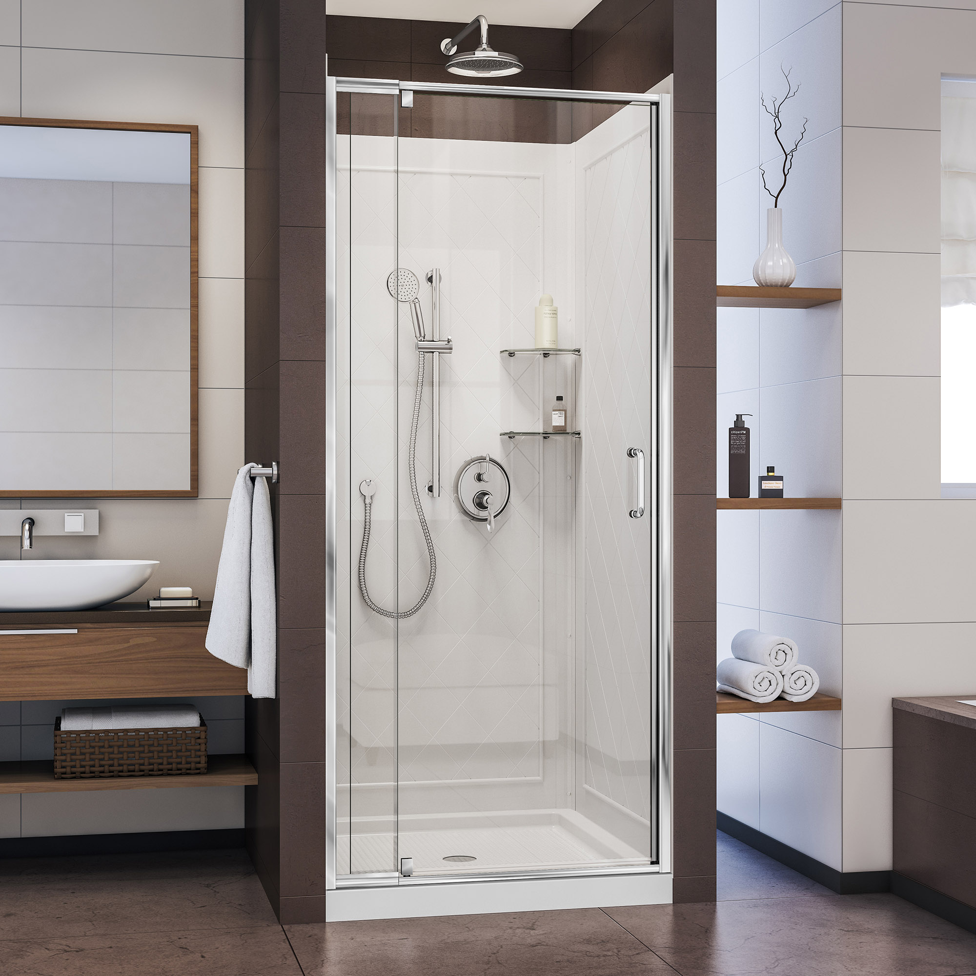 "Flex 36""W x 36""D x 74.75""H Frameless Shower Door and Base Kit, Chrome Finish Hardware"