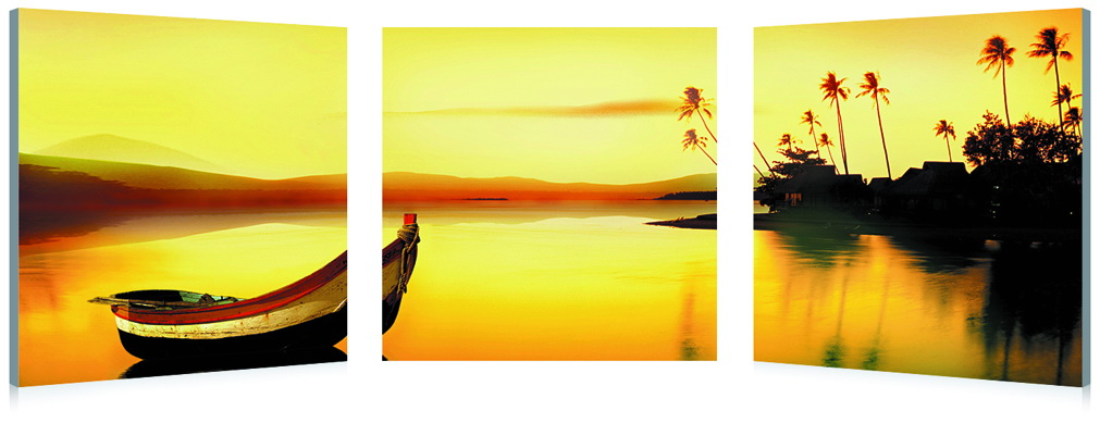 Baxton Studio Golden Sunset Mounted Photography Print Triptych