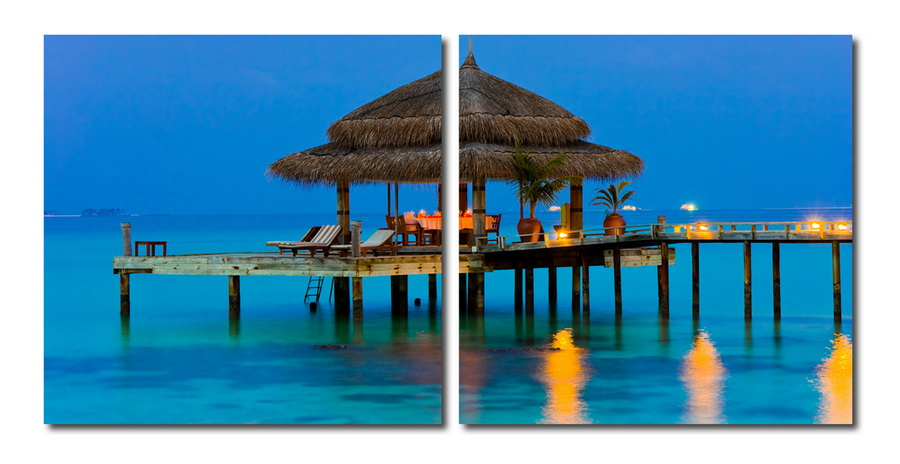 Baxton Studio Dinner in the Tropics Mounted Photography Print Diptych