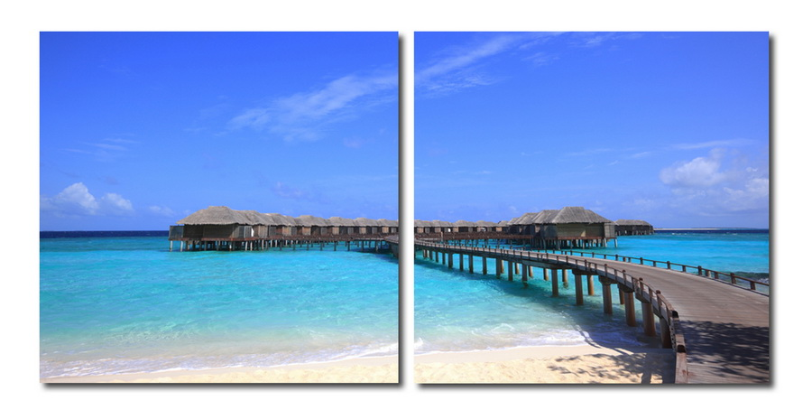 Baxton Studio Bridge to Paradise Mounted Photography Print Diptych