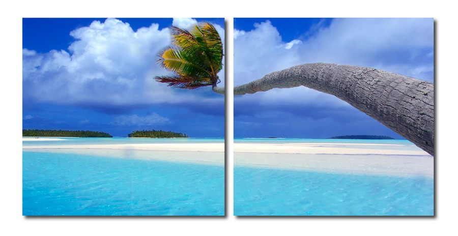 Baxton Studio Windswept Palm Mounted Photography Print Diptych