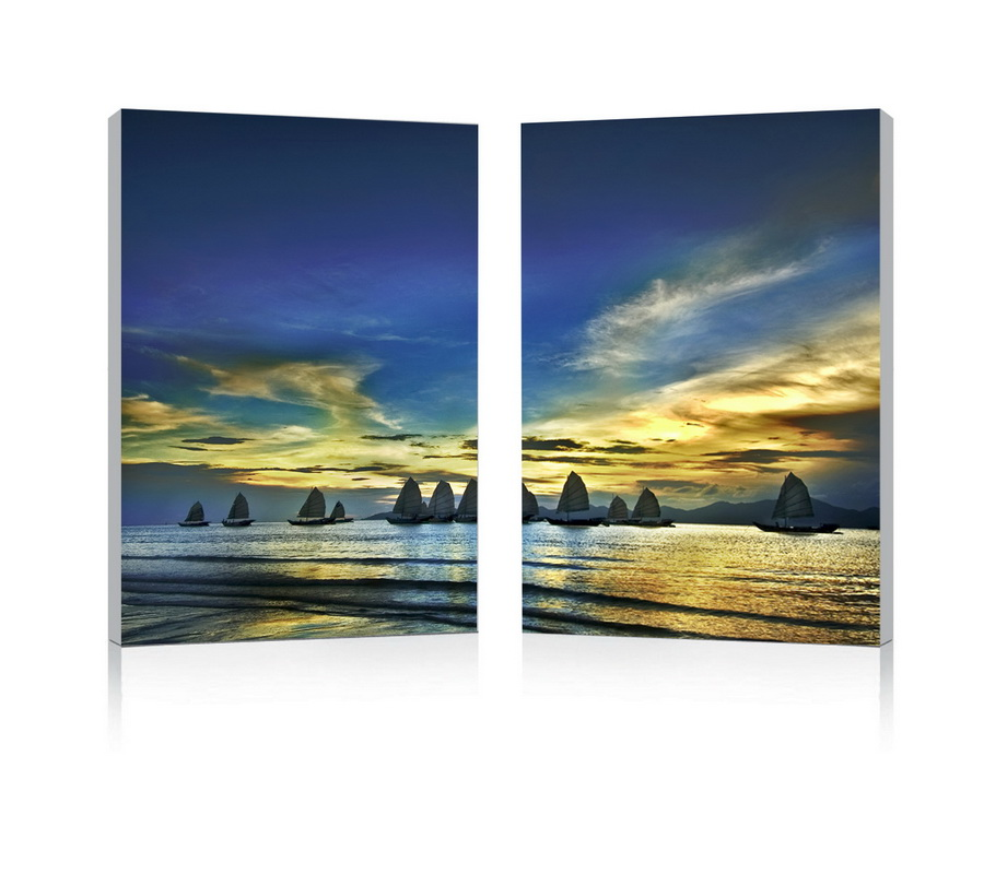 Baxton Studio Sunset Sails Mounted Photography Print Diptych
