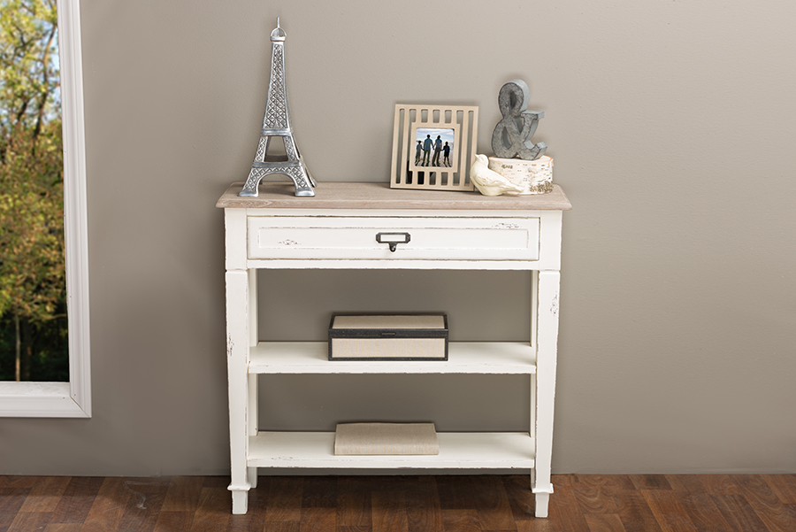 Baxton Studio Dauphine Traditional French Accent Console Table-1 Drawer