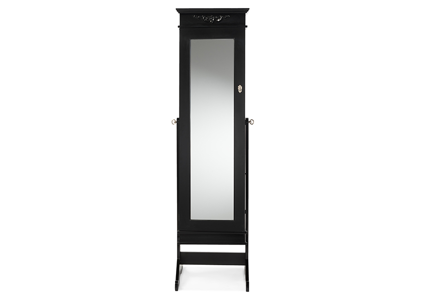 Baxton Studio Bimini Black Finish Wood Crown Molding Top Free Standing Full Length Cheval Mirror Jewelry Armoire