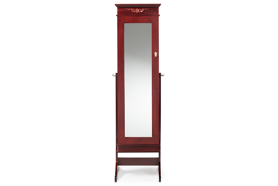 Baxton Studio Bimini Brown Finish Wood Crown Molding Top Free Standing Full Length Cheval Mirror Jewelry Armoire