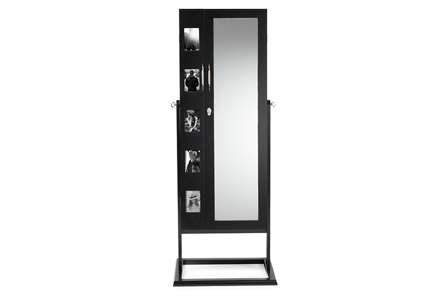 Baxton Studio Vittoria Black Finish Wood Square Foot Floor Standing Double Door Storage Jewelry Armoire Cabinet