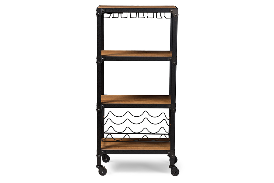 Baxton Studio Swanson Rustic Industrial Style Antique Black Textured Finish Metal Distressed Wood Mobile Kitchen Bar Wine Storag