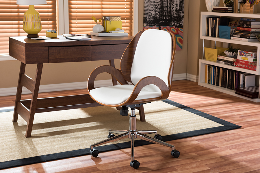 Baxton Studio Watson Modern and Contemporary White and Walnut Office Chair