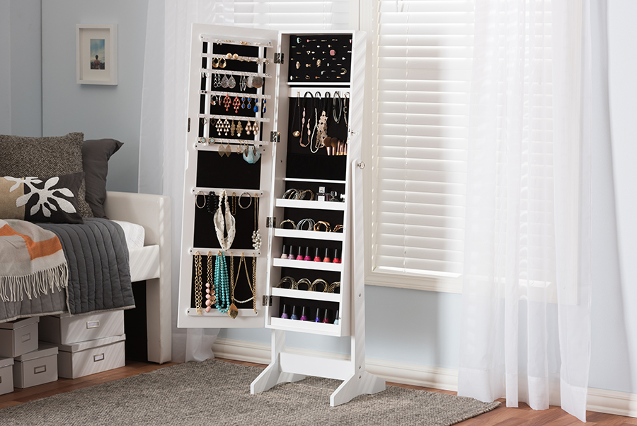 Baxton Studio Alena White Finishing Wood Free Standing Cheval Mirror Jewelry Armoire