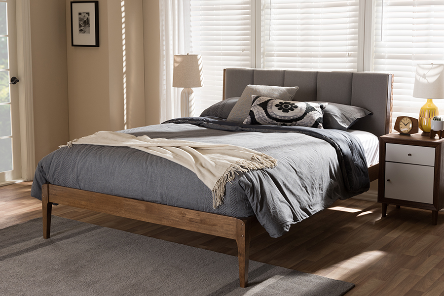 Baxton Studio Ember Mid-Century Light Grey Fabric and Medium Brown Finish Wood King Size Platform Bed