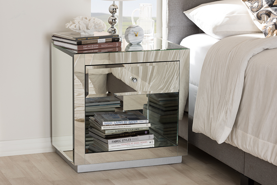 Baxton Studio Melanie Hollywood Regency Glamour Style Mirrored 1-Drawer 1-Shelf Nightstand (Set of 2)