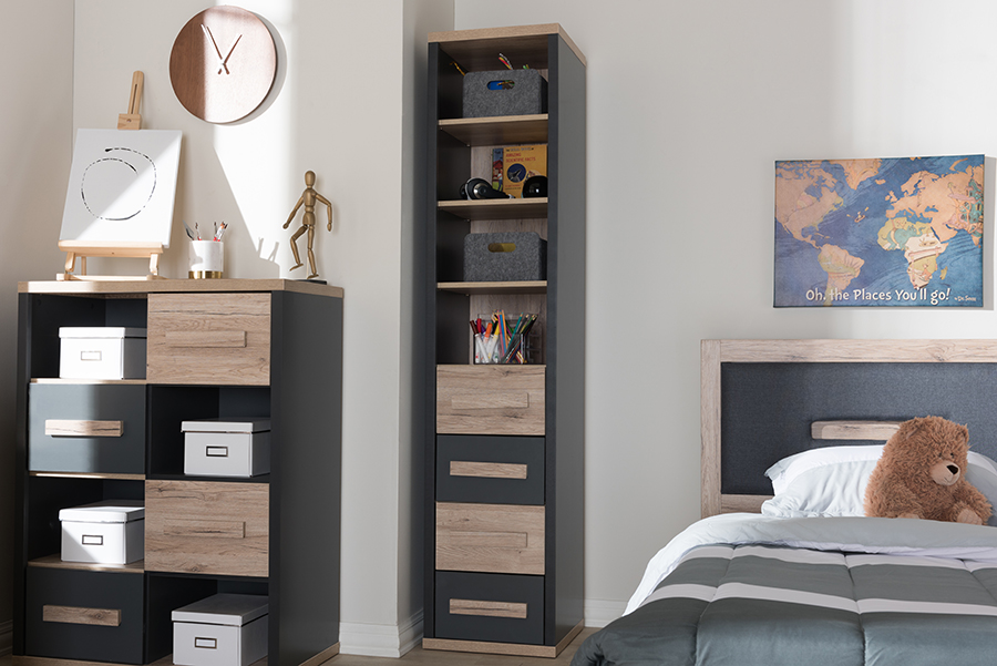 Baxton Studio Pandora Modern and Contemporary Dark Grey and Light Brown Two-Tone 4-Drawer Storage Cabinet