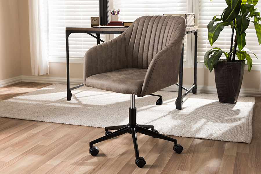Baxton Studio Maida Mid-Century Modern Light Brown Fabric Upholstered Office Chair