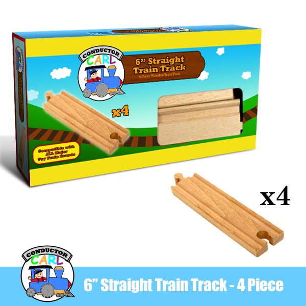 (4) 6 Inch Straight Wooden Train Tracks by Conductor Carl
