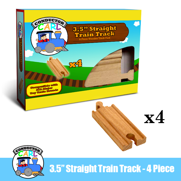 (4) 3.5 Inch Straight Wooden Train Tracks by Conductor Carl