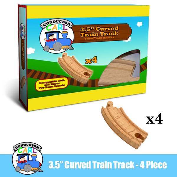 (4) 3.5 Inch Curved Wooden Train Tracks by Conductor Carl