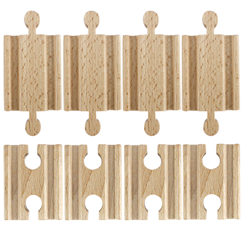 Set of 8 Male-Male Female-Female Wooden Train Track Adapters