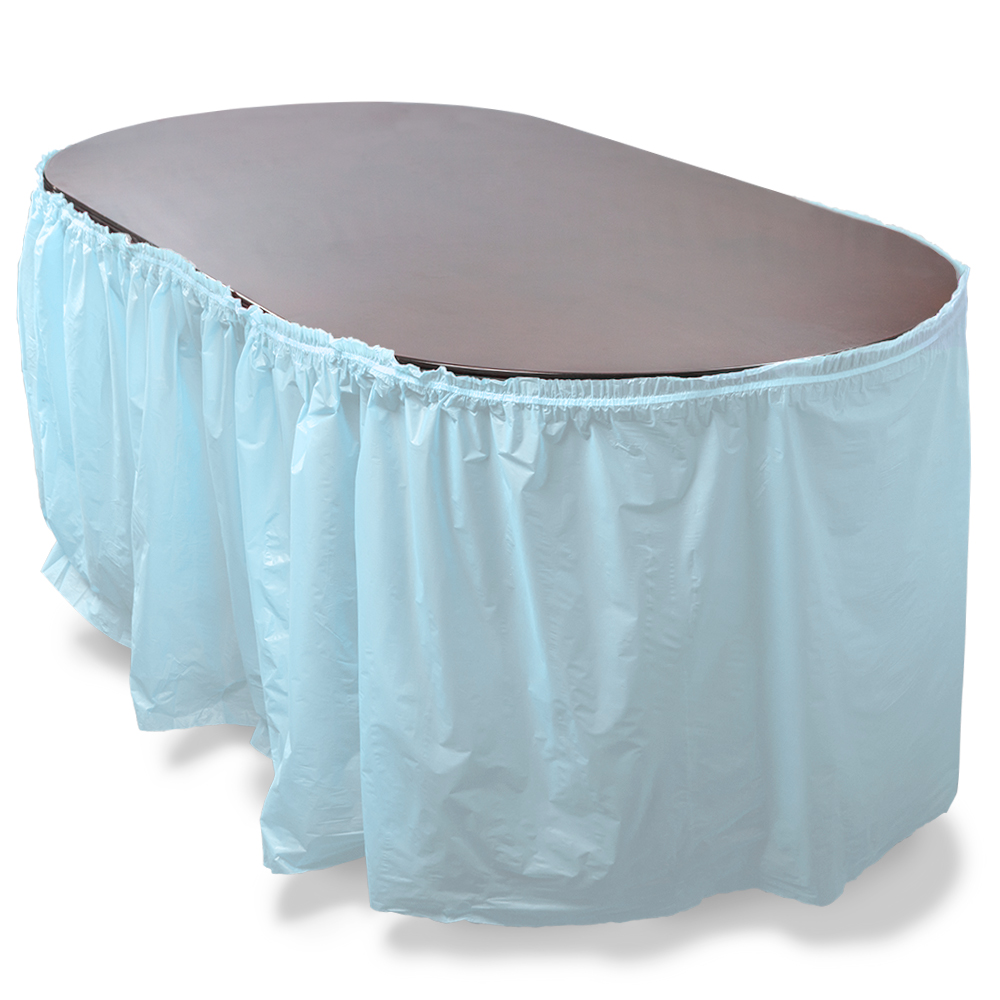 14' Light Blue Reusable Plastic Table Skirt, Extends 20'+
