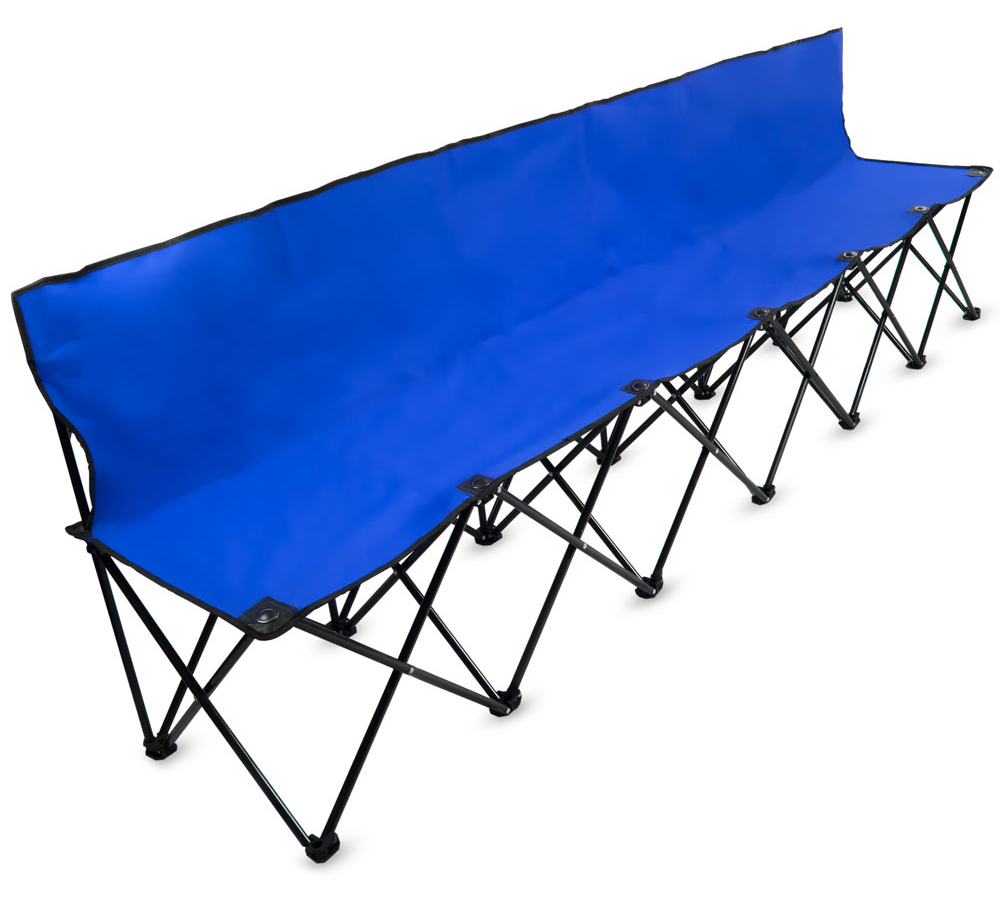 8-Foot Portable Folding 6 Seat Bench with Back, Blue   eBay