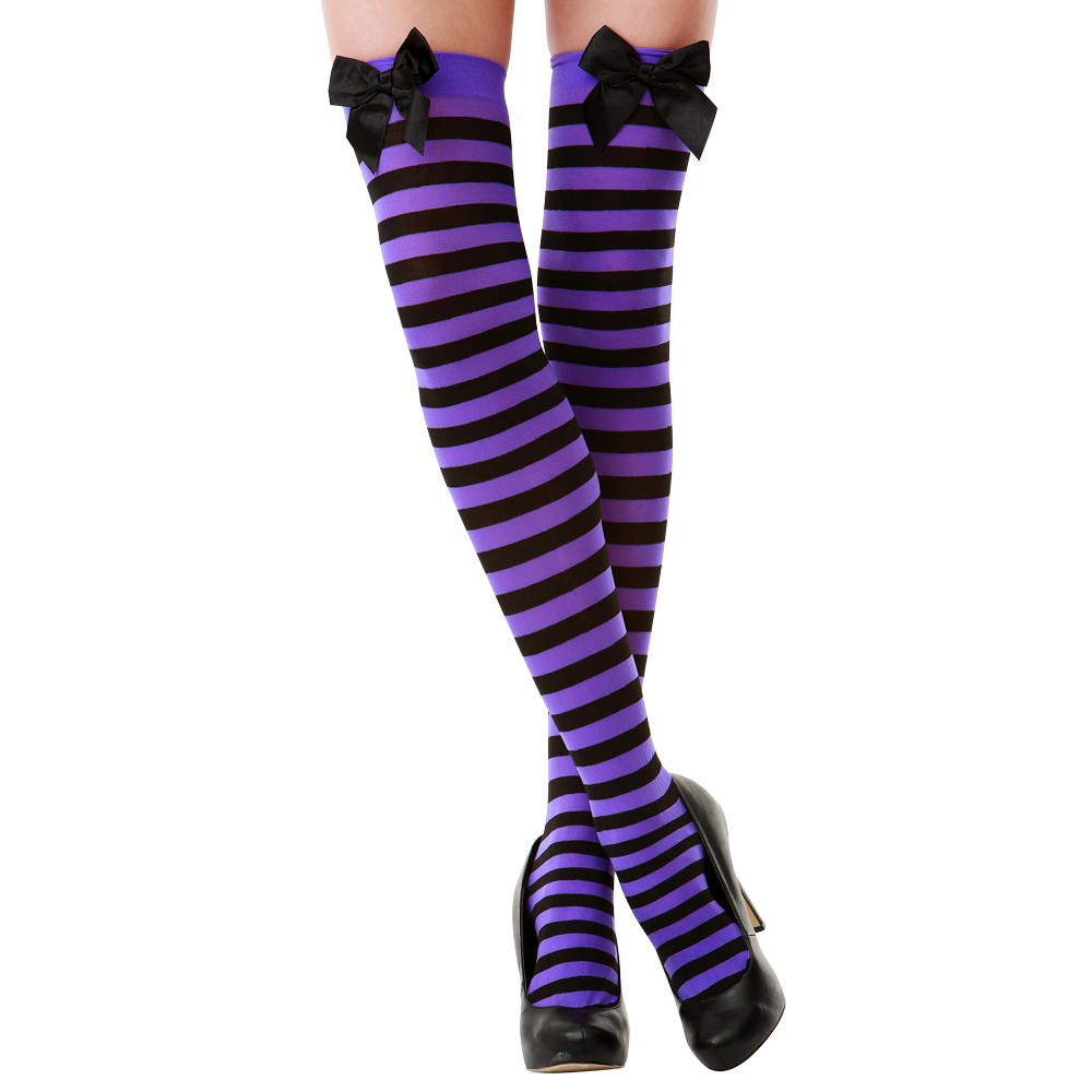 Purple Striped Thigh High Costume Tights