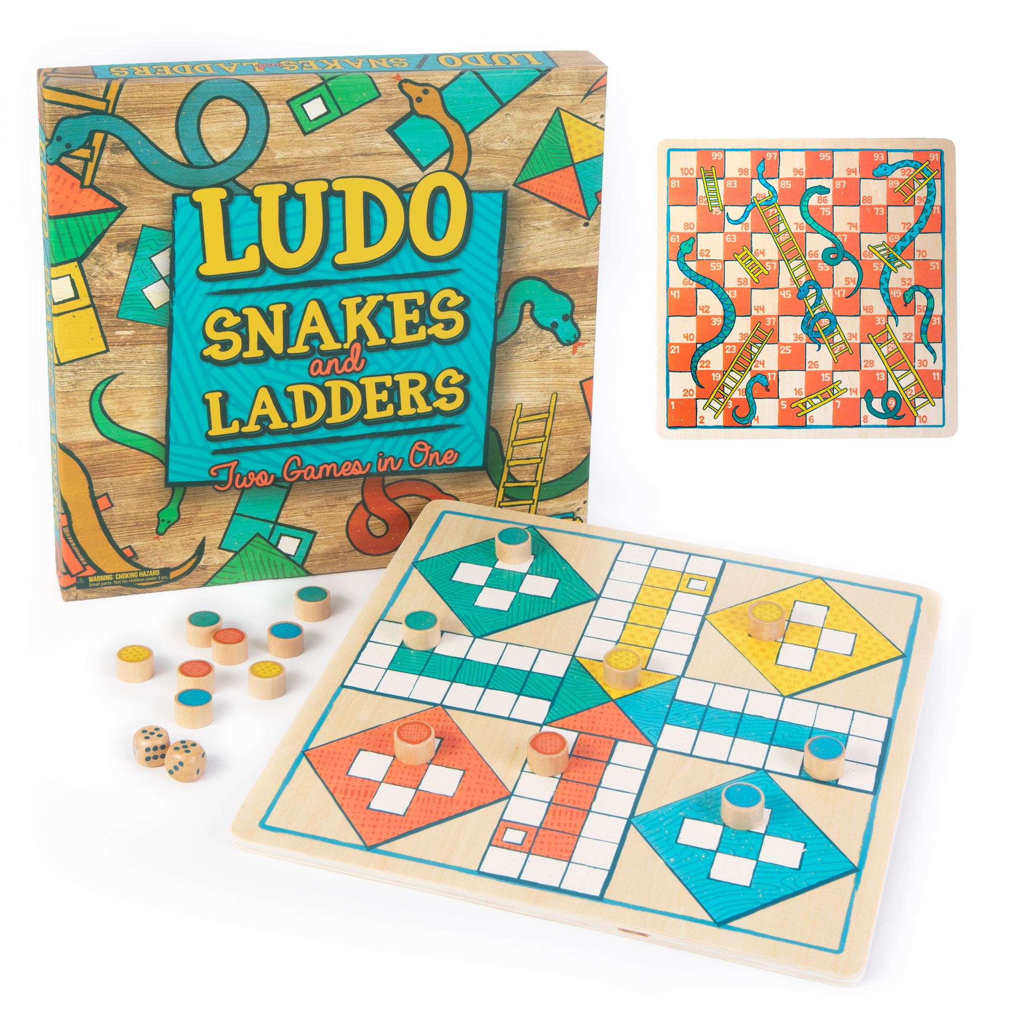 Ludo & Snakes & Ladders 2-in-1 Wooden Board Game